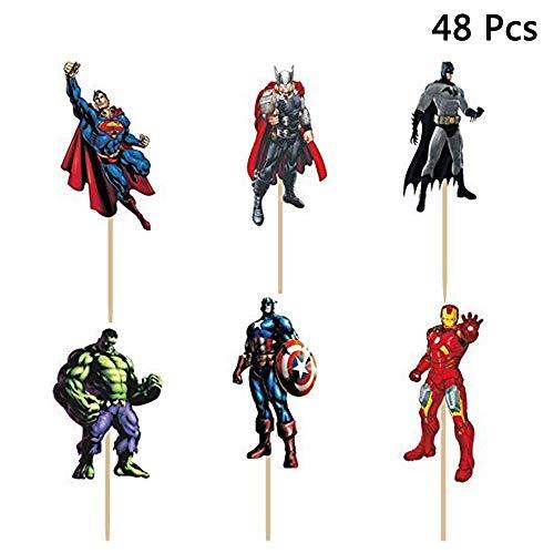 48 Stück The Avengers und Superheros Cupcake Topper für Kinder Geburtstag Party Baby Dusche Kuchen dekorative Lieferungen