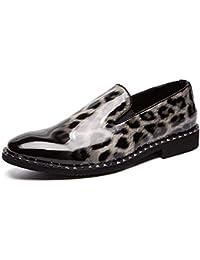 74293af1a7 Zapatillas para Hombre Oxford Shoes For Men Slip On Style Cuero de PU  Zapatos Formales Moda Piel de Leopardo Textura de Charol Transpirable…