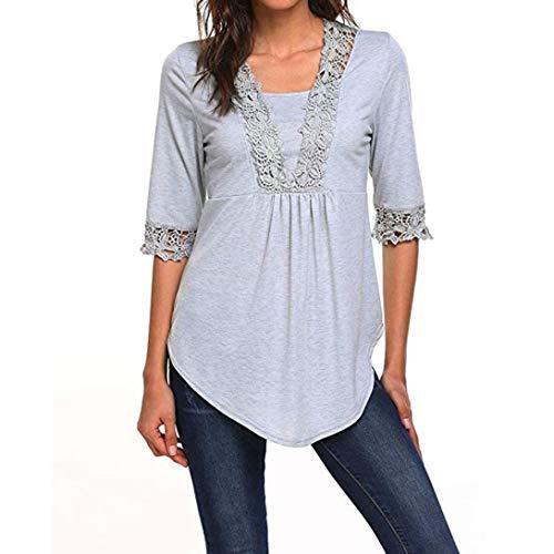 ESAILQ Frauen Lässige Halbe Ärmel Tops Tunika Bluse Shirts(XL,Grau)