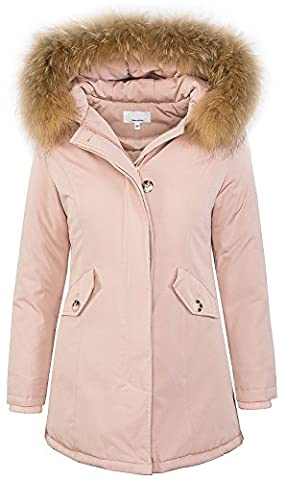 Damen Echtfell Winter Jacke Parka Kapuze Designer Damenjacke Outdoor [D-204 - Rosa - Gr. M]