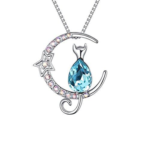 Jewelry Halskette, Katze Anhänger Rose glänzend Swarovski Kristall -