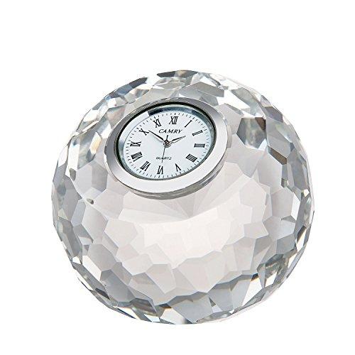 DONOUCLS Apple Cut Kristall Tisch Uhr rund klar 7,5x 8x 8cm