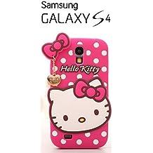 Suave 3D Hello Kitty piel funda Cover Carcasa Cubierta Caso Case Skin de silicona para el teléfono móvil para Samsung Galaxy S4 Fucsia
