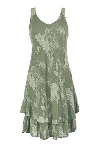 Ladies Womens Lagenlook Sleeveless V Neck Floral Layered Midi Dress One Size (Khaki, One Size) (Kleid Floral Silk Sleeveless)