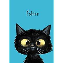 Fabien: Personalisiertes Notizbuch, DIN A5, 80 blanko Seiten mit kleiner Katze auf jeder rechten unteren Seite. Durch Vornamen auf dem Cover, eine Coverfinish. Über 2500 Namen bereits verf