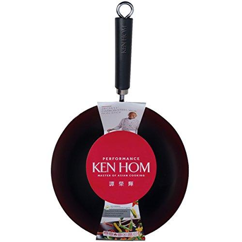 Ken Hom 28 cm el estándar de Rendimiento de Acero al Carbono Acero-Wok Antiadherente, Negro