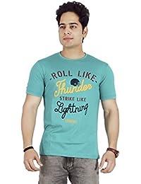 Basilio Men's Graphic Prints Pure Cotton Green T-Shirt
