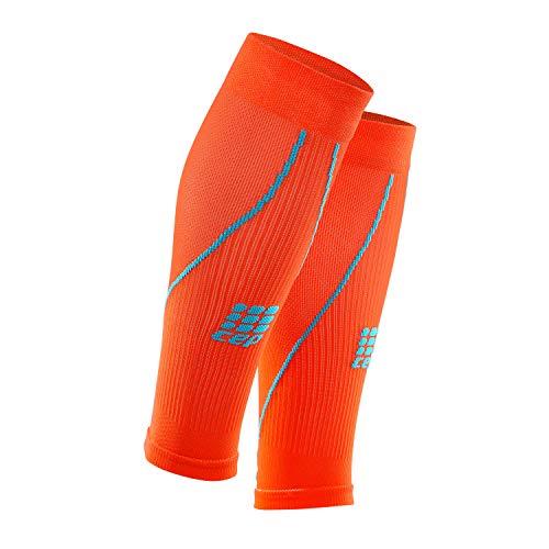 CEP – CALF SLEEVE 2.0, Beinstulpen für Herren in orange / blau, Größe V, Beinlinge für exakte Wadenkompression, made by medi