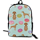 Vizsla Dogs Cute Dog Food Donuts Pastel Cute Funny Novelty Dog Fabric Adult Premium Travel Backpack, Water-Resistant College School Bookbag, Sport Daypack, Outdoor Rucksack, Laptop Bag for Men&Women