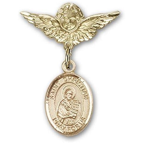 Icecarats Oro Gioielli Di Design Riempito St. Demostene Christian Fascino Angelo Pin Distintivo 1 X 3/4