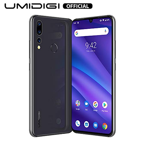 "UMIDIGI A5 Pro Smartphone ohne vertrag, Handy 4GB+32GB(256GB erweiterbar), 6.3"" FHD+ Waterdrop Full Screen, Triple Kamera(16MP+8MP+5MP), Glasrückseite, Android 9.0, Dual SIM, Global Version (Grau)"