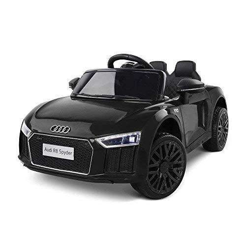TOYSCAR electronic way to drive Auto Macchina Elettrica 12V Licenza Audi R8 Spyder per Bambini LED MP3 con Telecomando Sedile in Pelle Nera