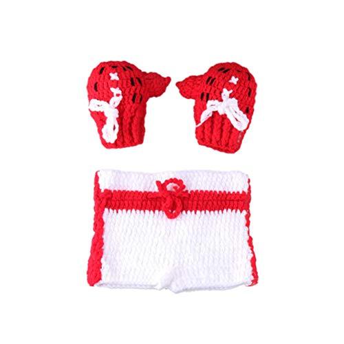 YeahiBaby Säuglings Foto Requisiten häkeln neugeborenen Kleinkind Photoshoot Sets Boxer gestrickte Babykleidung Foto kostüm (rot)