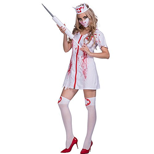 YouN Novelty Funny,Halloween Nurse Costume Bloody Masquerade Women Adult Party Cosplay Dress (Kostüm Nurse Ghost)