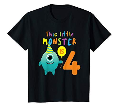 Kinder Kleines Monster 4 Jahre ! Bday Halloween Shirt Geschenk Vier