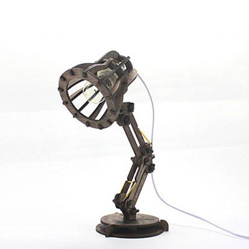 Pumpink Diseño Original de Madera DIY Lámpara de Mesa Lámpara de Escritorio Montar Pixar Madera Maciza Personalidad Luz de Escritorio Creativa Hecho a Mano Propia Asamblea Lámpara de Lectura