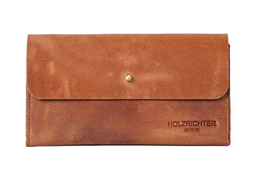 HOLZRICHTER Berlin Geldbörse aus Leder. Handgefertigtes Damen Portemonnaie in braun (Damen Wildleder Geldbörse)