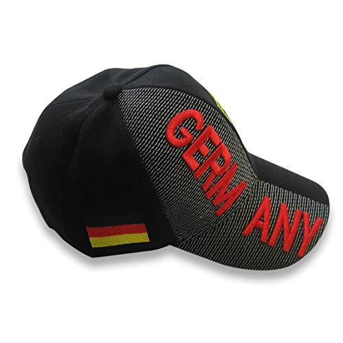 Lixure Deutschland Baseballmützen Baseball Cap Hut mit 3D Stickereien Wappen von Deutschland Verstellbares Unisex Polo Stil Einheitsgröße MEHRWEG (Plain Baseball Cap Schwarz)