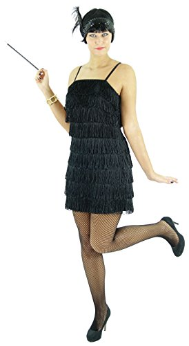 Kreative Kleid Schwarz Kostüm - Foxxeo Schwarzes 20er Jahre Kleid für Damen Elegantes Charleston Kostüm zu Fasching und Karneval Größe M