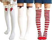 Wander G Womens Over Knee High Fuzzy Socks Cute Cartoon Thigh High Stockings Warm Stripe Leg Warmers