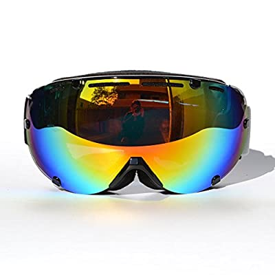 CRG 100% UV Protection Mirror Like Outdoor Sport Motorcycle Riding Helmet Cross-country Cross Country Off-road Skiing Ski Double Lens Anti-Fog Windproof Snow Goggles Eye Piece Wear Christmas Gift Blue Red Black Green Yellow Grey UV Lens Silver Lens Colorf