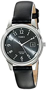 Timex Men's T29321 Elevated Classics Dress Black Leather Strap Watch