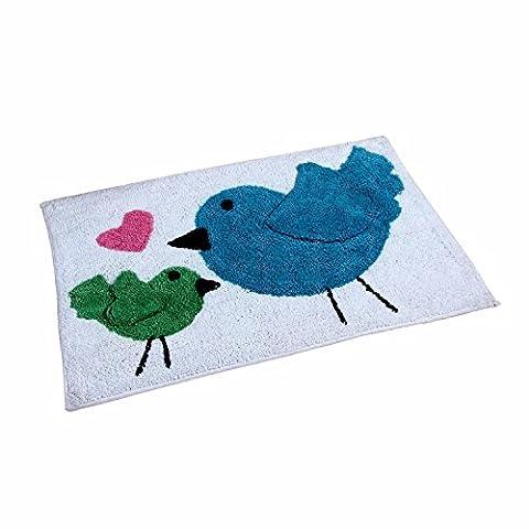 Homescapes – Tapis Tufté Lavable - 100% Coton – Oiseaux Coeur - Rose Bleu Vert Blanc - 50 x 80 cm – Tapis Salle de Bains ou Tapis Enfant
