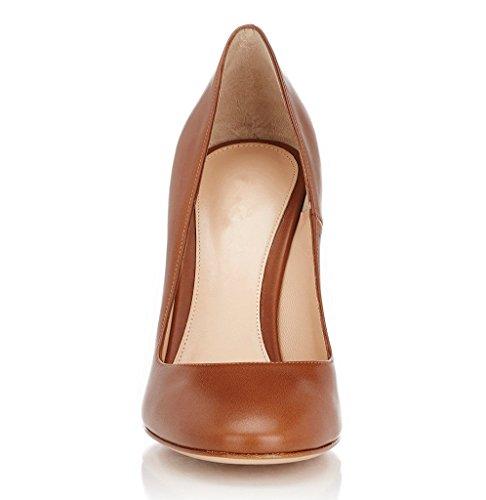 EDEFS - Chaussure Mode Escarpin - Talon Hauts Bloc - Bout Rond fermé - Soirée Mariage Grand Femme Marron