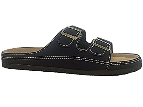 Mens Bio Rock Faux Leather Double Strap Slip On Open Toe Chuckly Flat Cork Sole Casual Summer Beach Mule Sandals Size 6-12 (UK 8/ EU 42, B- Black)