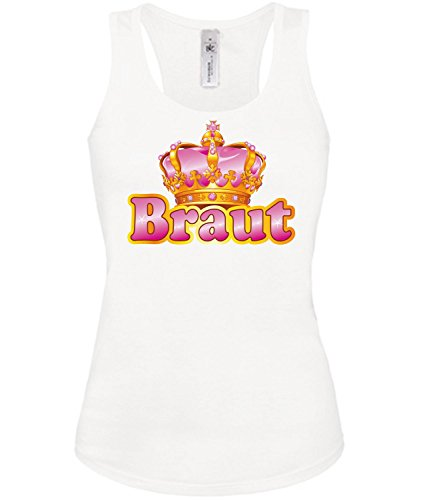 (love-all-my-shirts Braut 4484 Junggesellenabschied Jga Damen Fun Tank Top Funshirt Weiss M)