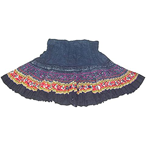 Falda Plisada Vintage de Mujeres Bordada a Mano de Tela Escocesa #232