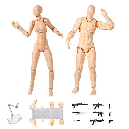 Preisvergleich Produktbild Ein Paar Action Figur Modell,  Starall menschlichen Schaufensterpuppe Mann + Frau Action-Figur Set mit Modell Waffe und Schwert,  verschiedene Gesten,  spezielle Display-Basis,  ideal zum Zeichnen,  Skizzieren,  Cartoon-Figuren Aktion