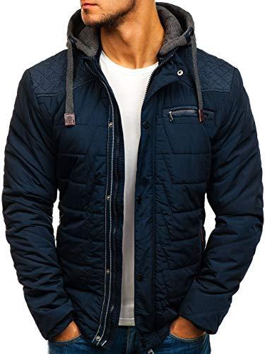 BOLF Herren Übergangsjacke mit Kapuze Stehkragen Taschen Casual Style Extreme 1662 Dunkelblau M [4D4] | 05902646515496