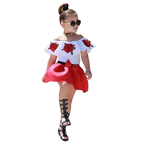 Janly 0-5 Years Old Girls Off Shoulder Tops Rose Floral Shirts + Bow Skirts Toddler Outfits Suits