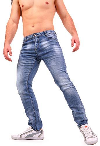 Instinct jeans uomo strappato strappati slim fit estivi elasticizzati denim skinny cotone wa96 (32/46, blu_regular fit)