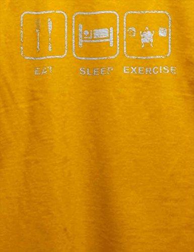 Eat Sleep Exercise Vintage T-Shirt Gelb