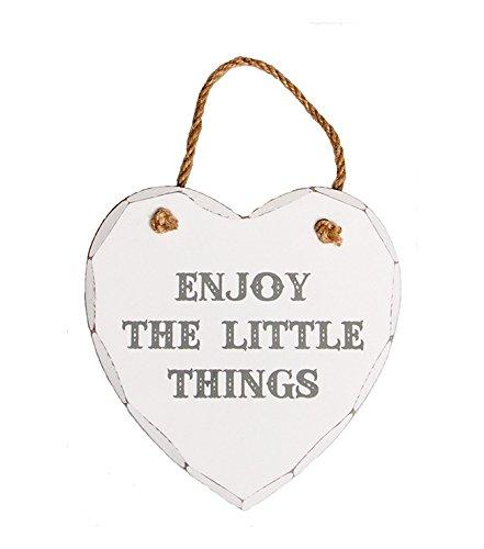 Azzaria... Shabby Chic weiß gewaschen aus Holz Herz Expression Vorlagen... Enjoy the little things -