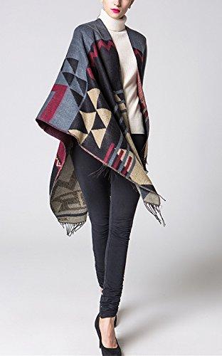 Beunique Femme Poncho Tricot avec Frange Mode Bohême Ouverture Chaud Echarpe Mode Châle Automne Hiver Couleur 2