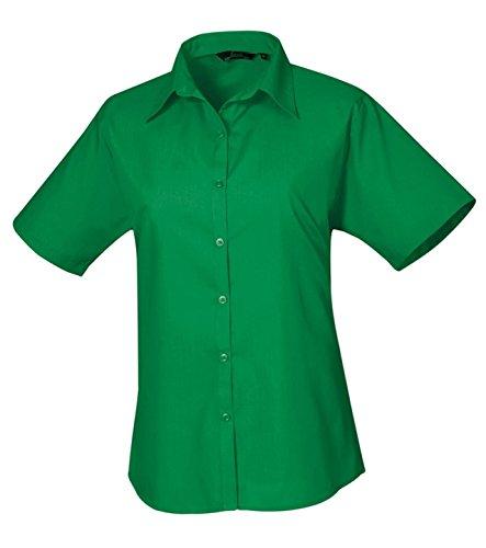 Premier Chemisier en popeline à manches courtes pour femme-Workwear Chemise de Visite Bureau Vert - Eméraude