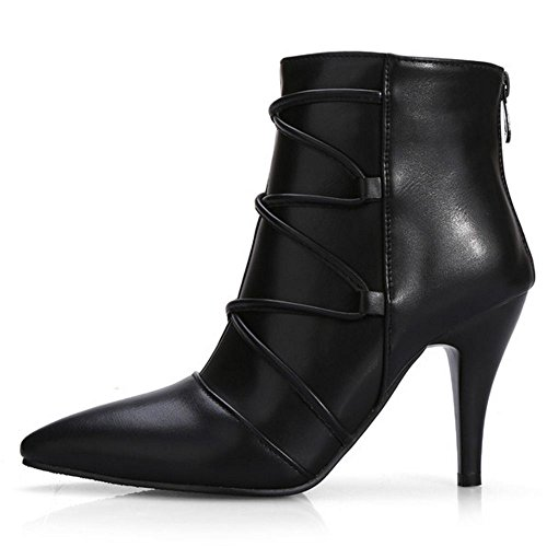 COOLCEPT Damen Mode-Event Party schuhe Stiefeletten for Party Schwarz