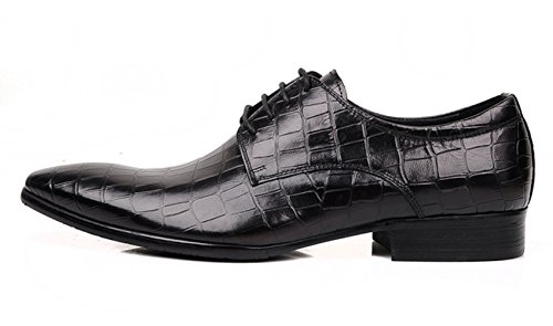 WOUFO chaussures de ville homme Cuir supérieur Tête pointue Rayure de pierre Style comercial Noir