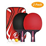 Weeygo Professionnel Set de Tennis de Table, Raquette De Tennis De Table, 2 Raquettes de ping-Pong + 3 balles + 1 Sac de Rangement