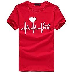 Top Haut Femme Mode lâche à Manches Courtes T-Shirt imprimé Coeur décontracté col Rond