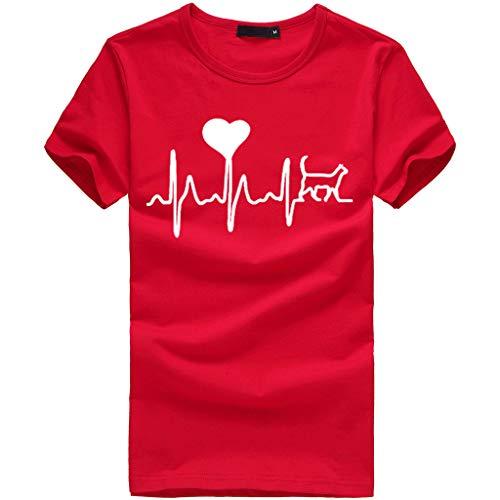 ze Electrocardiogram Love Bedrucktes T-Shirt O-Neck Kurzarm Slouch Bluse(L(40),Rot) ()