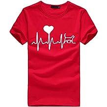 MEIbax Camisetas mujer manga corta con Cuello Redondo con Estampado De Electrocardiograma Corazones Impresión Blusa Suelta