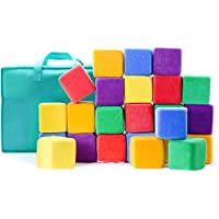 "Milliard Soft Foam Blocks, JUMBO Size, for Stacking Sorting and Building, 24 4"" Cubes with Removable Covers and Carry Bag"