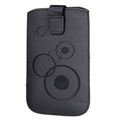 Handytasche Circle schwarz passend für Microsoft Lumia 950 XL Handy Schutz Hülle Slim Case Cover Etui schwarz mit Klettverschluss