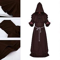 New_Soul Disfraz de Monje Adulto Sacerdote Túnica Medieval Renacimiento Túnica Disfraz con Cruz Cosplay para Adultos Niños Halloween Carnaval (Marron, L)