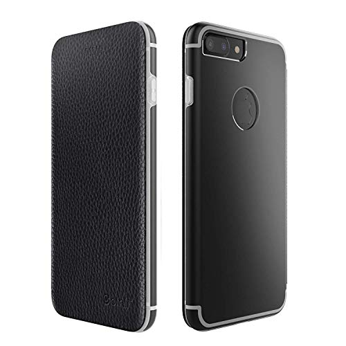 Leder Hülle kompatibel mit iPhone 7 Schutzhülle Flip Cover Case mit Aluminium Back in Schwarz Flip Leder Hard Case