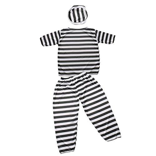 Sharplace Gefangener Herren Damen Kinder Kostüm Halloween Sträfling Gefängnis Gestreiften Anzug Abendkleid - Junge (Jailbird Halloween-kostüm)
